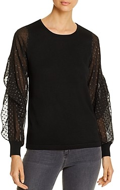 Design History Sheer-Sleeve Sweater