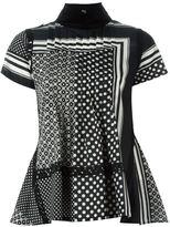 Sacai scarf print pintuck blouse