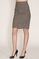 Corey Lynn Calter Doris Houndstooth Pencil Skirt in Black/Brown