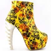Show Story Lace Skull Zip High-top Bone High Heel Hidden Platform Ankle Boots,LF40611GD36,5US?