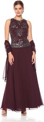 J Kara Women's Beaded Pop Over Gown W/Scarf