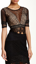 Wow Couture Illusion Plunging V-Neck Mesh Blouse