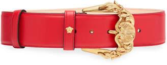 Versace Baroque Buckle Leather Belt