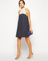 Lydia Bright Mia Swing Dress in Polka Dot with Trim