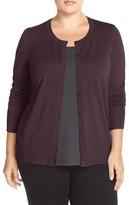 Sejour Plus Size Women's Crewneck Cardigan