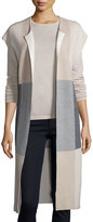 Neiman Marcus Long Plaid Cashmere Vest