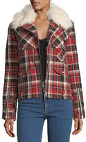 Rag & Bone Etiene Zip-Front Plaid Jacket w/ Shearling