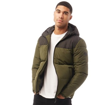 Jack and Jones Mens Knight Stand Collar Puffer Jacket Forest Night
