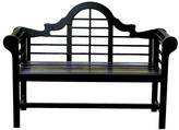 The Well Appointed House Lacquer Lutyen Outdoor Wooden Bench in Black