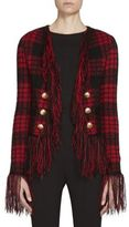 Balmain Button-Detail Fringed Plaid Jacket