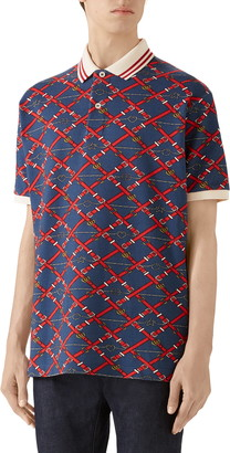 Gucci Belt Chess Print Short Sleeve Pique Polo