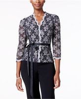 Alex Evenings Belted Sequined Lace Blouse