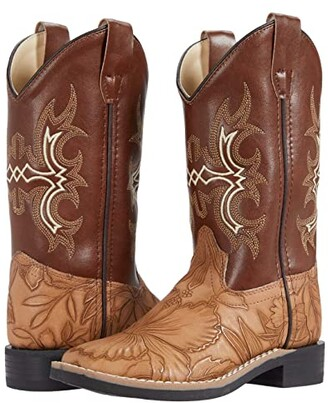 Old West Kids Boots Saddle (Toddler/Little Kid) (Tan) Kids Shoes