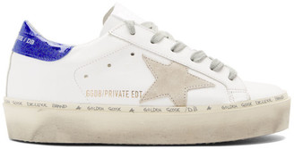 Golden Goose SSENSE Exclusive White Glitter Tab Hi Star Sneakers
