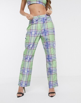 ASOS DESIGN 90's check kick flare trouser in shell fabric co-rd