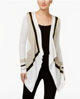 INC International Concepts Petite Colorblocked Draped Cardigan, Only at Macy's