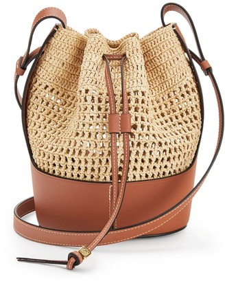Loewe Small Raffia And Leather Balloon Bag