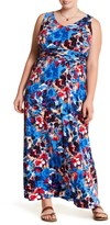 London Times Floral Ruched Maxi Dress (Plus Size)