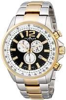 Akribos XXIV Men's AK619TTG Conqueror Swiss Chronograph Black Dial Two-Tone Stainless Steel Bracelet Watch