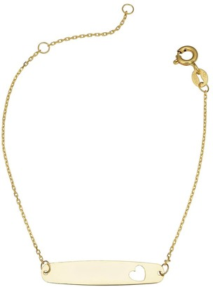 Fremada 14k Yellow Gold ID Bracelet with Cut-out Heart