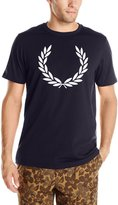 Fred Perry Men's Laurel Print T-Shirt Snow White/Graphic Blue T-Shirt SM