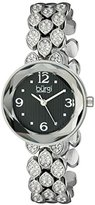 Burgi Women's BUR124SSB Swarovski Crystal Accented Faceted Black Dial Silver Bracelet Watch
