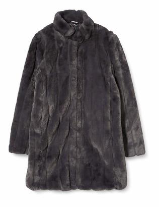 Dorothy Perkins Women's Slate Longline Pleated Faux Fur Coat 14