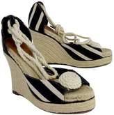 Kate Spade Black & Cream Striped Espadrille Wedges