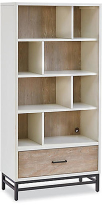 One Kings Lane Spender Asymmetrical Bookcase - Driftwood - frame, white/driftwood; hardware, black