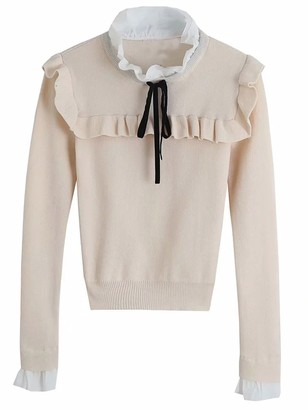 Goodnight Macaroon 'Rosie' Ruffle Neck Bow Knit Top (2 Colors)