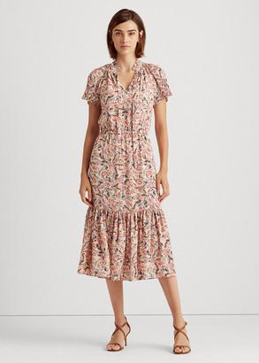 Ralph Lauren Pleated Floral Georgette Dress