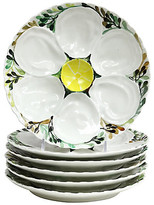One Kings Lane Vintage Midcentury Pillivuit Oyster Plates - Set of 6 - THE QUEENS LANDING - white/multi