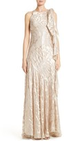 Talbot Runhof Women's Metallic Burnout Jacquard Tie Shoulder Gown