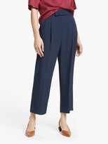 Marella Flauto High Waisted Cropped Trousers, Navy