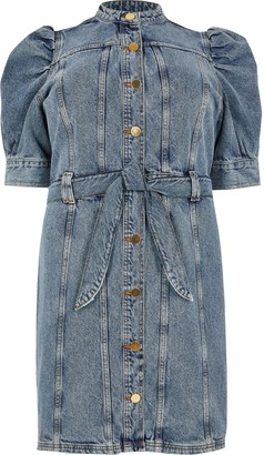 River Island Womens Plus Blue puff sleeve mini denim dress