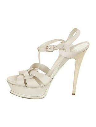 Saint Laurent Leather T-Strap Sandals White