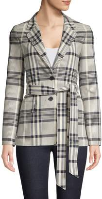 HUGO Plaid Belted Cotton Jacket
