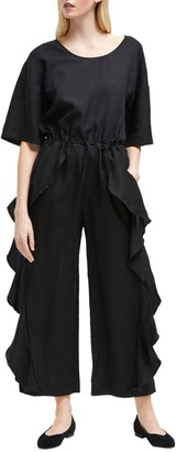 French Connection Dae Frill Jumpsuit, Black