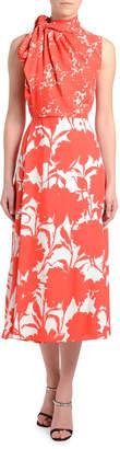 Prada Twill Floral Shadow Sleeveless Dress