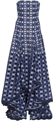 Alexis Antoni Broderie Anglaise Crepe De Chine Maxi Dress