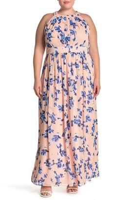 Brinker & Eliza Floral Print Halter Maxi Dress (Plus Size)
