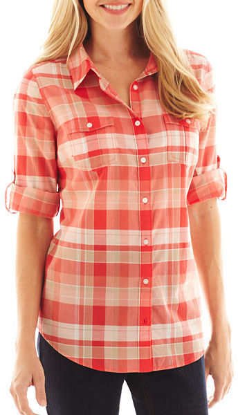 JCPenney St. John's Bay Roll-Sleeve Campshirt