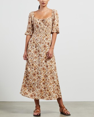 Faithfull The Brand Women's Brown Midi Dresses - El Paso Midi Dress - Size S at The Iconic