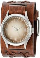 Nemesis Men's 217BVDXB-B Brown Gradient Pointium Series Faded Double X Leather Cuff Band Analog Display Japanese Quartz Brown Watch