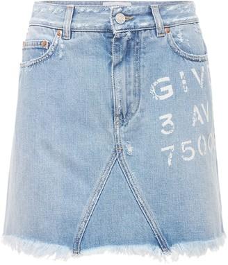 Givenchy Logo Print Cotton Denim Mini Skirt
