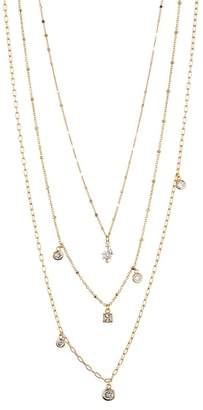 Nordstrom Rack Triple Layered Delicate Multi Stone Charm Necklace