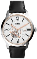 Fossil Men's 'Townsman' Automatic Leather Strap Watch, 44Mm