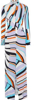 Emilio Pucci Wrap-effect Printed Jersey Maxi Shirt Dress