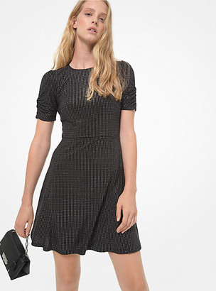 Michael Kors Metallic Polka Dot Matte Jersey Ruched-Sleeve Dress