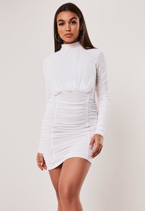 Missguided Nude Mesh High Neck Ruched Bodycon Mini Dress